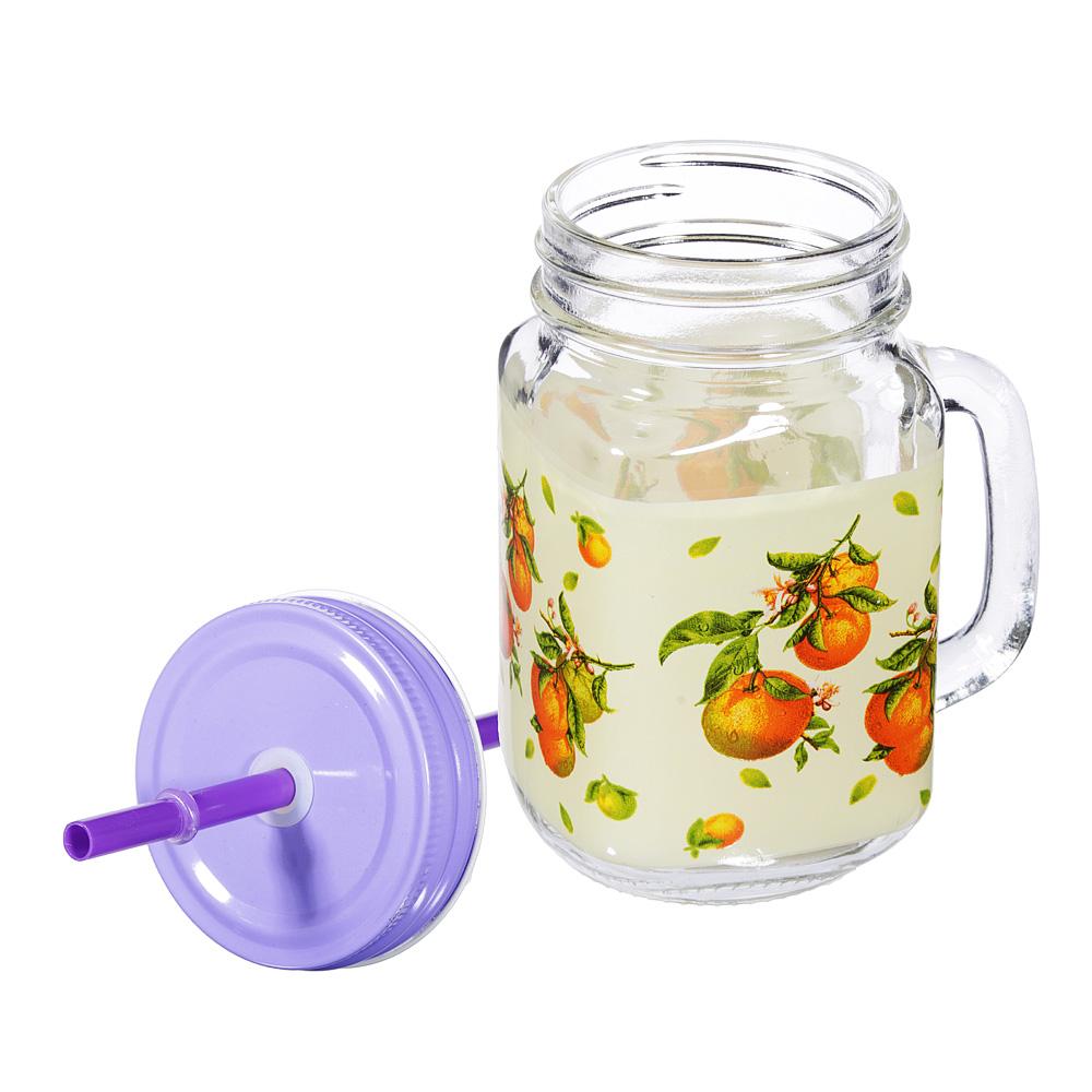 Апельсин и яблоко Бокал для напитков с крышкой и трубочкой, стекло, 500мл, 2 дизайна - 3
