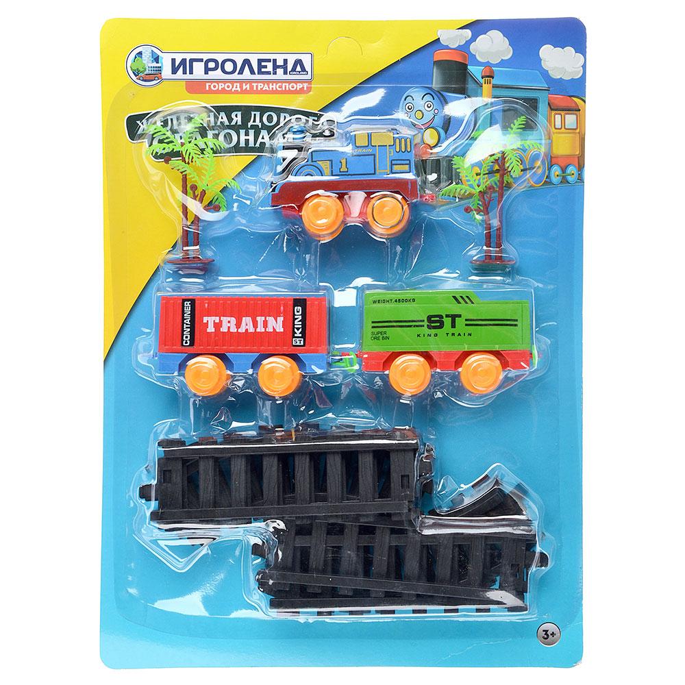 ИГРОЛЕНД Поезд 2 вагона с рельсами,движение,2хАА ,пластик, 38,6x28,6x4,5см - 4