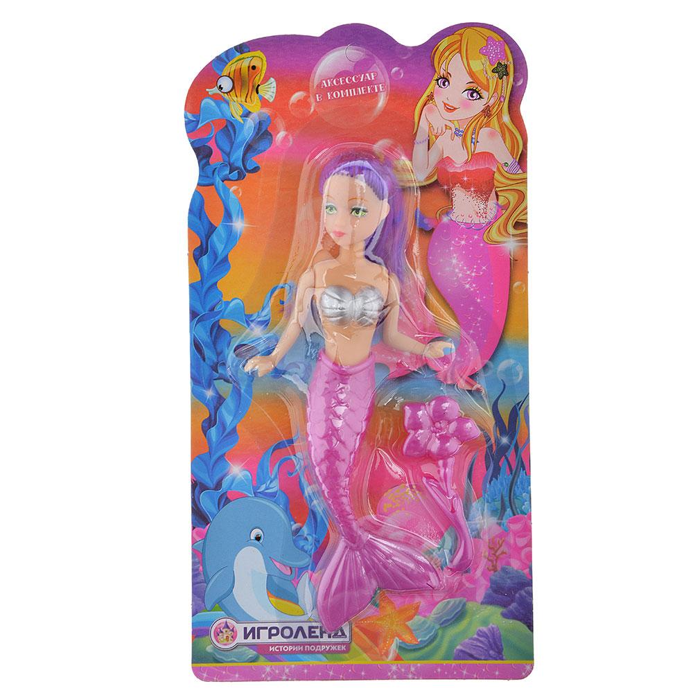 ИГРОЛЕНД Кукла с хвостом русалки, PVC,PP,HIPS, 11x21х2см, 4 дизайна - 2