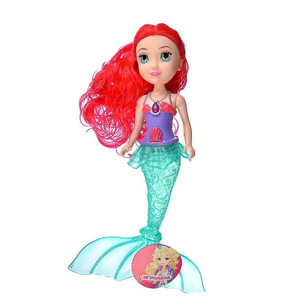 ИГРОЛЕНД Кукла с хвостом русалки,свет,3хAG3, ABS,PVC, 25x40х6см, 3 дизайна - 3