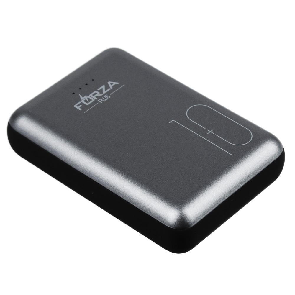 Аккумулятор мобильный FORZA, 10000 мАч, 2 USB, 2A, металлик, мягкий пластик - 3
