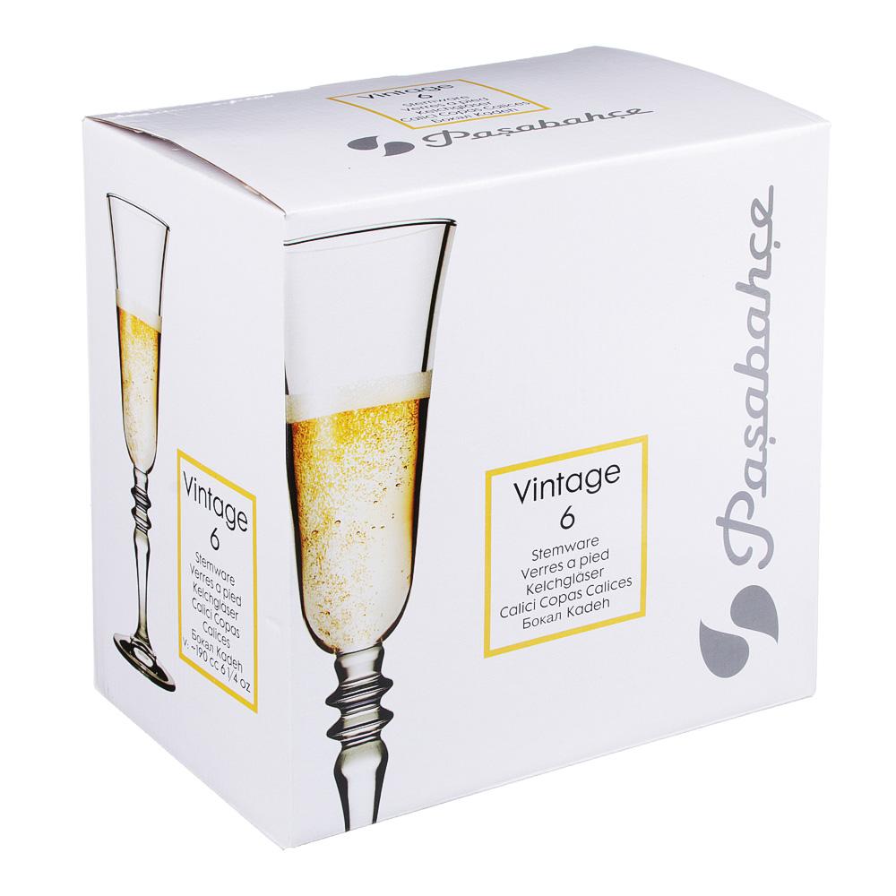 "Набор бокалов для шампанского 6шт 190 мл, PASABAHCE ""Винтаж"" 440283B - 3"