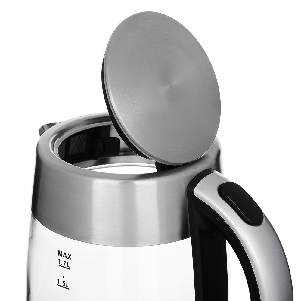 Чайник электрический 1,7 л LEBEN, 2000 Вт, стекло/нержавейка, на базе с поддержанием температуры 291-079 - 2