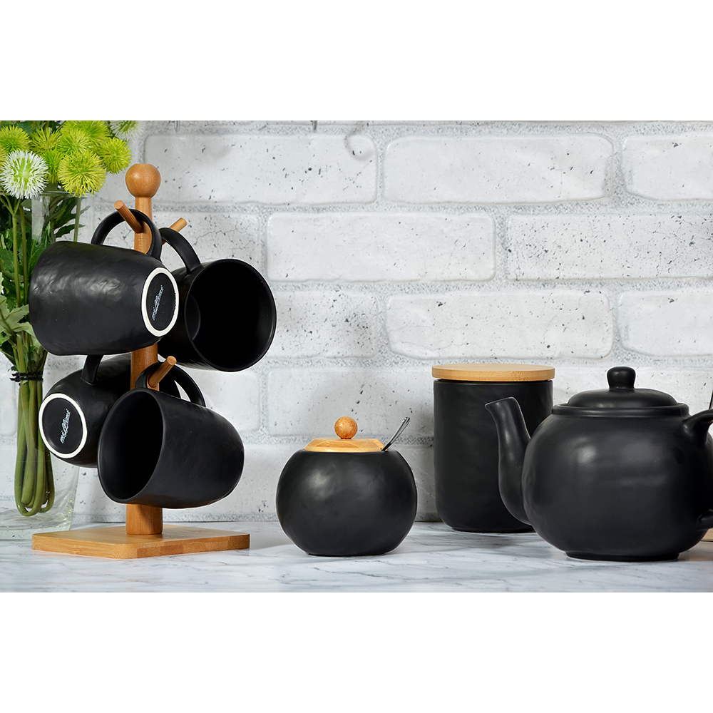 "Сахарница 500 мл, матовая керамика/бамбук, MILLIMI ""Черный бархат "" - 4"