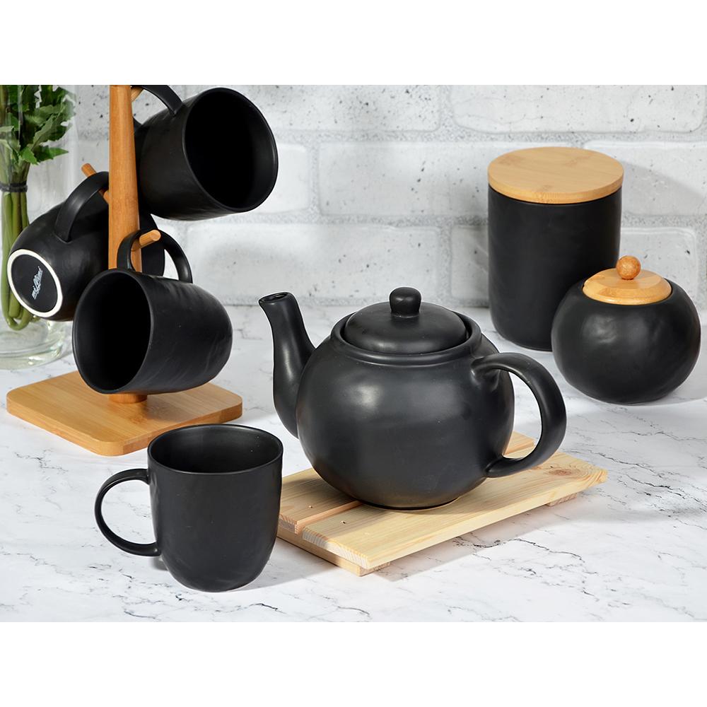 """Чайник заварочный 1200 мл, матовая керамика, MILLIMI """"Черный бархат"""" - 3"""