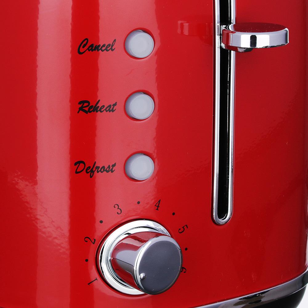 Тостер LEBEN 850 Вт, 2 отделения, 7 степеней поджарки, красный 271-025 - 3