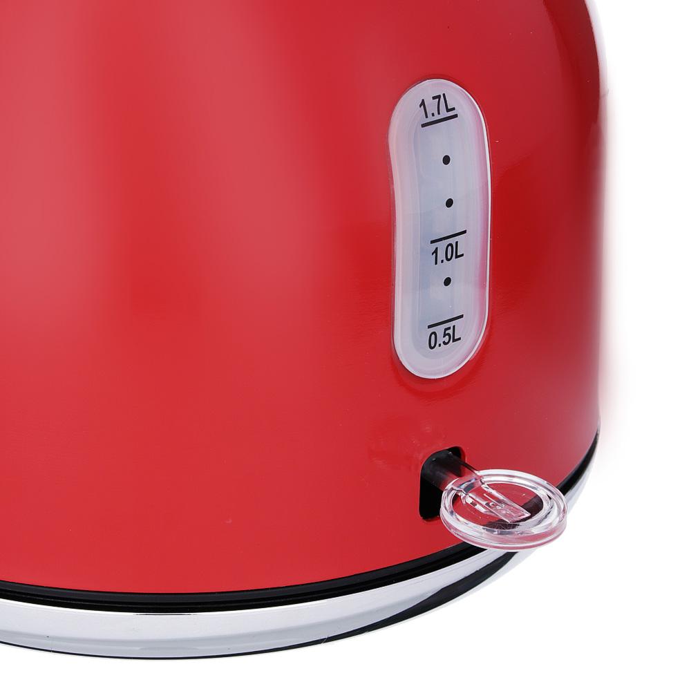 Чайник электрический 2,0 л LEBEN, 2200 Вт,нержавеющая сталь, красный 291-081 - 2