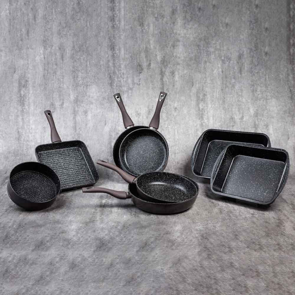 SATOSHI Валькур Сковорода-гриль литая 26х26см, антипригарное покрытие мрамор, индукция - 7