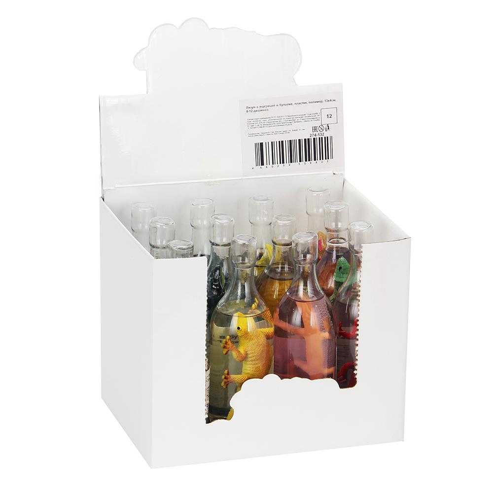 Лизун с ящерицей в бутылке, пластик, полимер, 13х4см, 8-12 дизайнов - 4