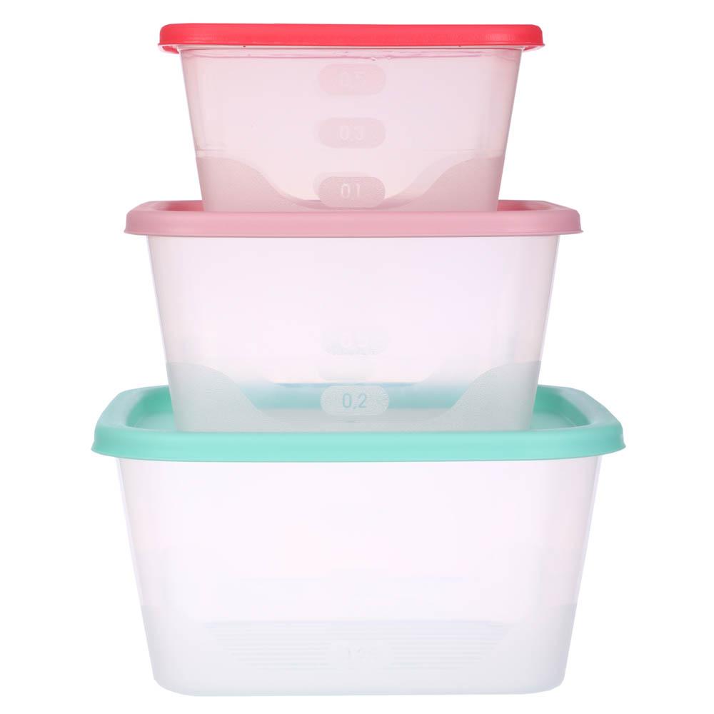 Набор пищевых контейнеров 3 шт (0,5 л, 0,9 л, 1,55л), квадратные, пластик - 2