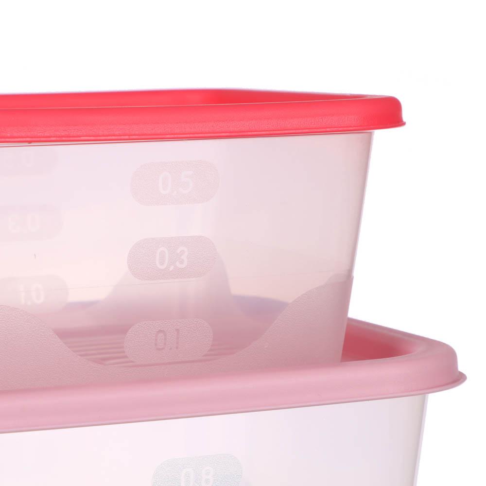 Набор пищевых контейнеров 3 шт (0,5 л, 0,9 л, 1,55л), квадратные, пластик - 3