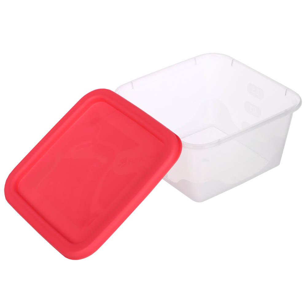 Набор пищевых контейнеров 3 шт (0,5 л, 0,9 л, 1,55л), квадратные, пластик - 4