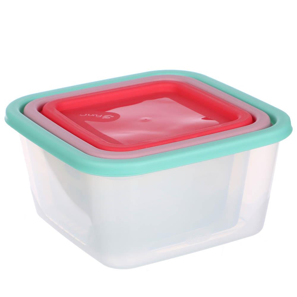 Набор пищевых контейнеров 3 шт (0,5 л, 0,9 л, 1,55л), квадратные, пластик - 5