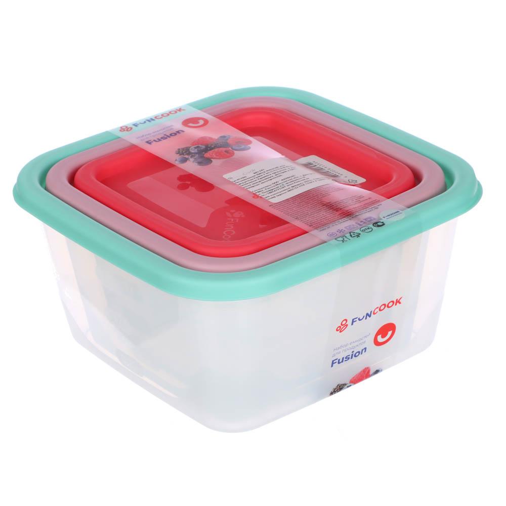 Набор пищевых контейнеров 3 шт (0,5 л, 0,9 л, 1,55л), квадратные, пластик - 6