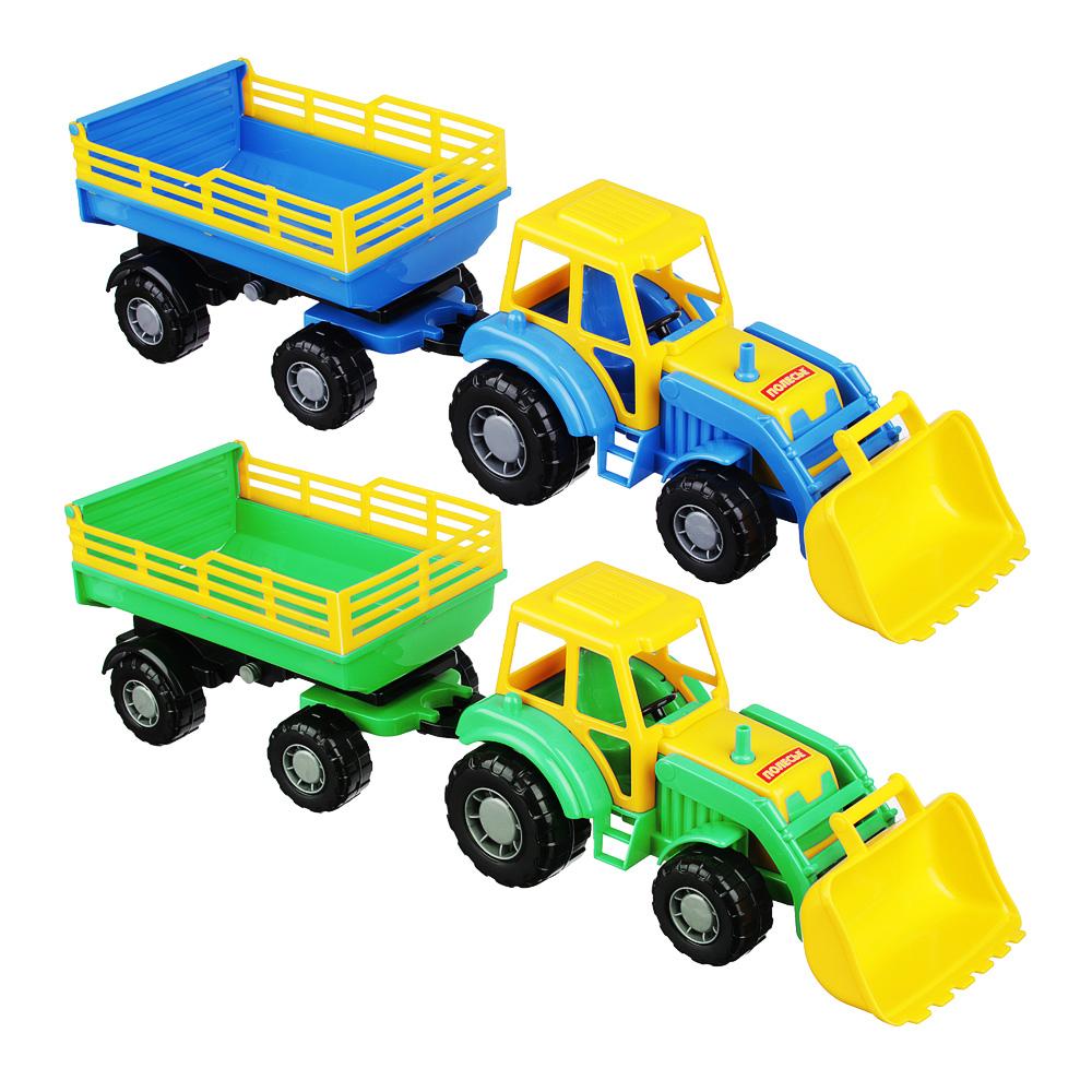 ПОЛЕСЬЕ Трактор с прицепом и ковшом, пластик, 50х13,4х13,5см, 2 дизайна - 2