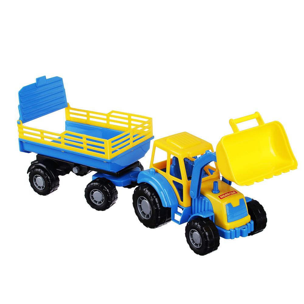 ПОЛЕСЬЕ Трактор с прицепом и ковшом, пластик, 50х13,4х13,5см, 2 дизайна - 3