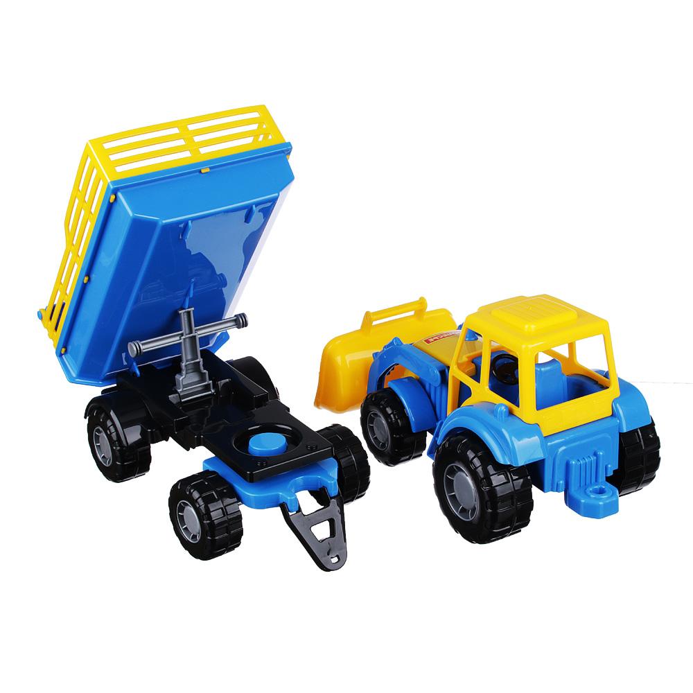 ПОЛЕСЬЕ Трактор с прицепом и ковшом, пластик, 50х13,4х13,5см, 2 дизайна - 4