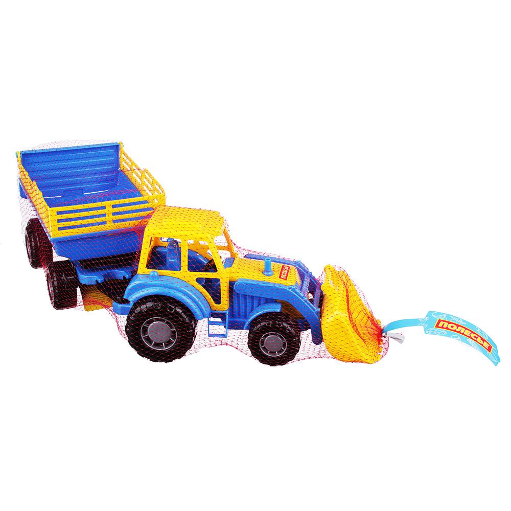 ПОЛЕСЬЕ Трактор с прицепом и ковшом, пластик, 50х13,4х13,5см, 2 дизайна - 5