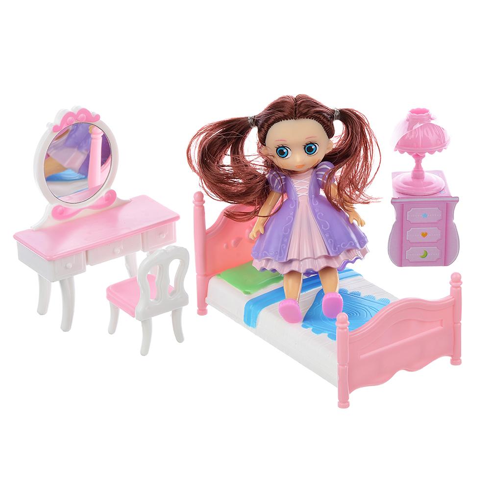 ИГРОЛЕНД Набор игровой кукла с мебелью, 6-22пр., пластик, 40х18х10см, 2 дизайна - 2