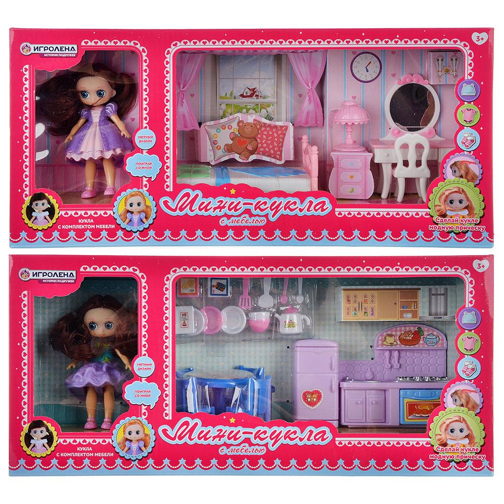 ИГРОЛЕНД Набор игровой кукла с мебелью, 6-22пр., пластик, 40х18х10см, 2 дизайна - 3