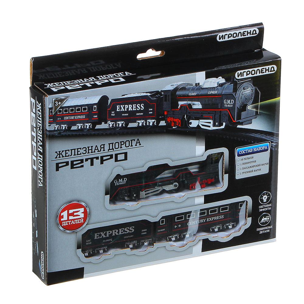 """ИГРОЛЕНД Поезд с ж/д путями """"Ретро"""", функция движения ,свет , 2АА, PP, HIPS, 35,7х24х4,3см - 2"""