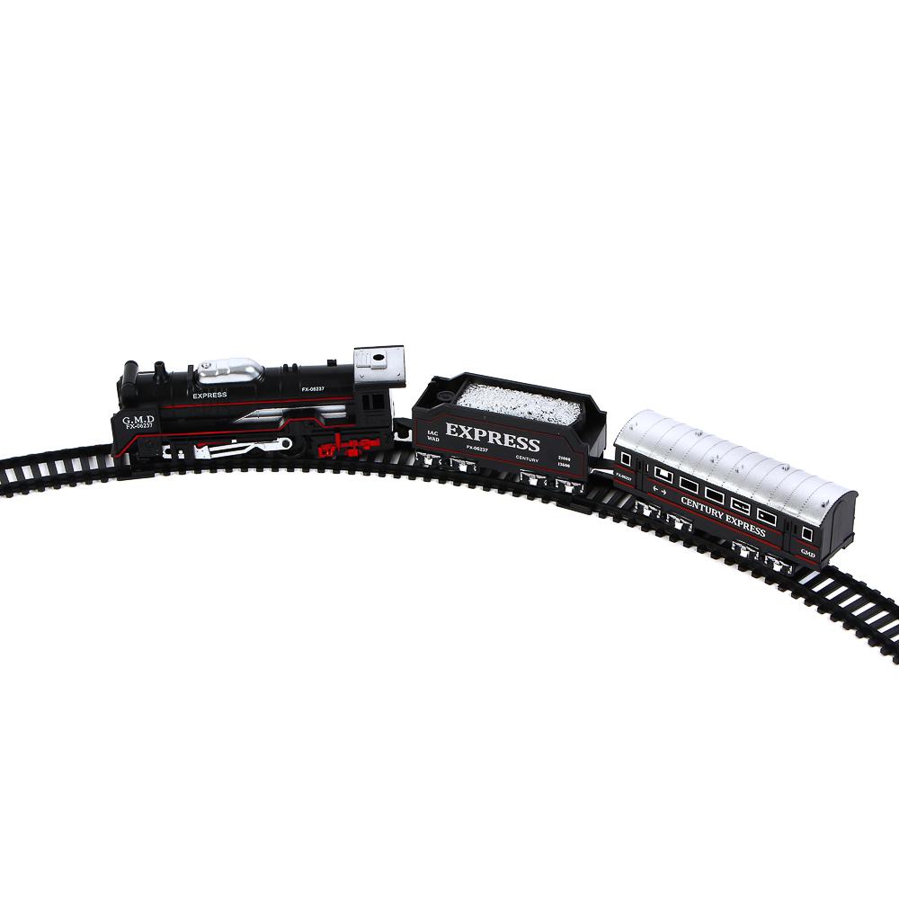 """ИГРОЛЕНД Поезд с ж/д путями """"Ретро"""", функция движения ,свет , 2АА, PP, HIPS, 35,7х24х4,3см - 6"""