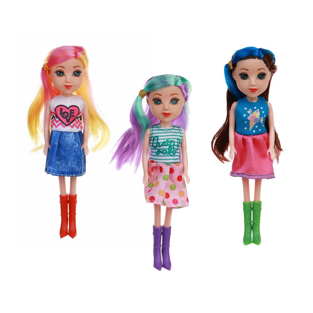 ИГРОЛЕНД Кукла с цветными волосами, 15 см, PP,PVC, полиэстер, 6х17,5х5см, 6 дизайнов - 2