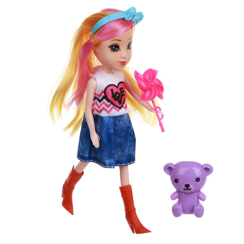 ИГРОЛЕНД Кукла с цветными волосами, 15 см, PP,PVC, полиэстер, 6х17,5х5см, 6 дизайнов - 4