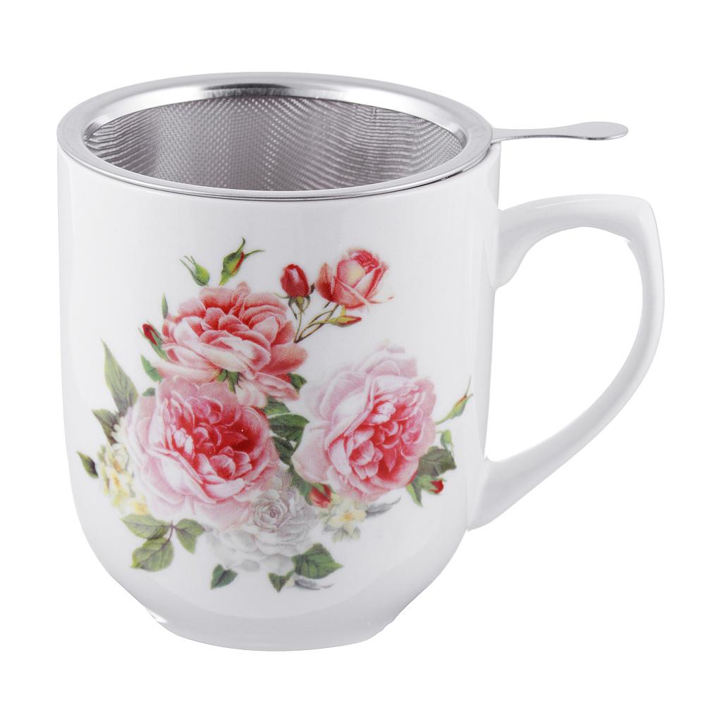 Чайный сервиз MILLIMI Романс (кружка, ситечко, ложка, крышка), костяной фарфор - 2