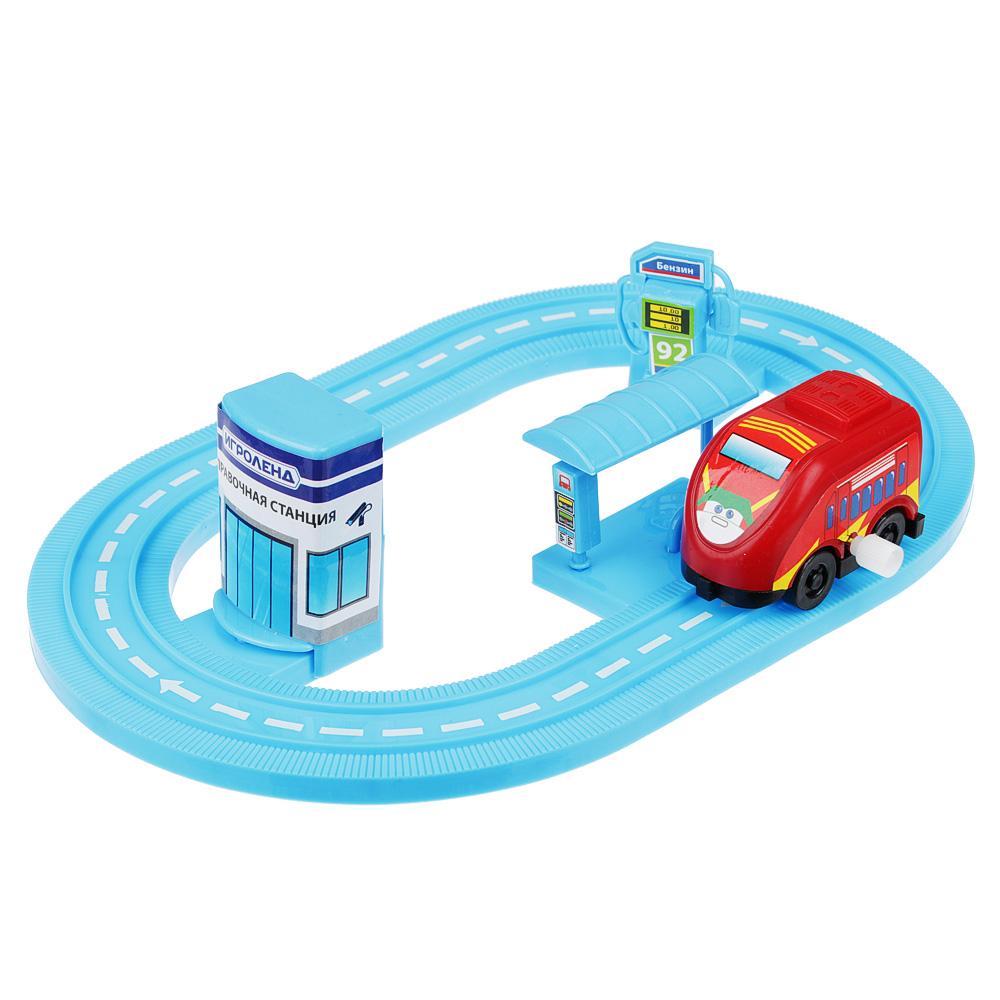 ИГРОЛЕНД Автотрек с машинкой и зданием, пластик, 30х18,5х3см, 6 дизайнов - 2