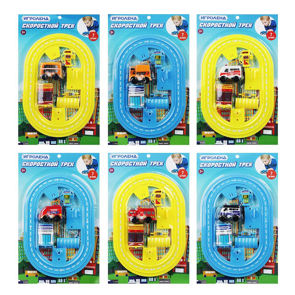 ИГРОЛЕНД Автотрек с машинкой и зданием, пластик, 30х18,5х3см, 6 дизайнов - 3