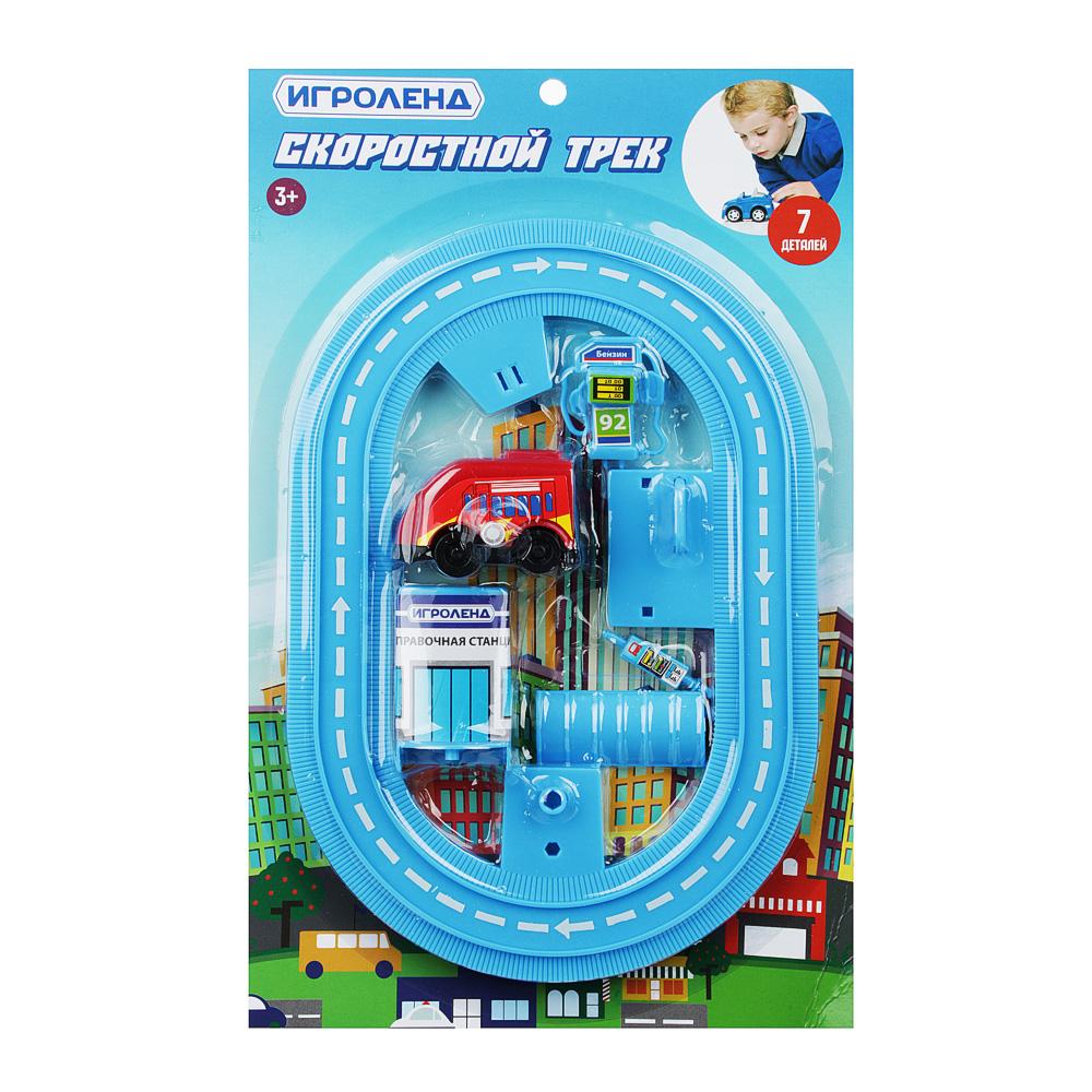 ИГРОЛЕНД Автотрек с машинкой и зданием, пластик, 30х18,5х3см, 6 дизайнов - 4