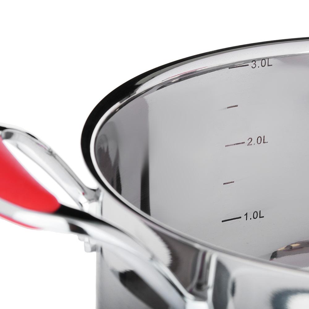 SATOSHI Венрай Кастрюля 20х11см 3,2л, со стекл. крышкой, индукция, нерж. сталь - 3