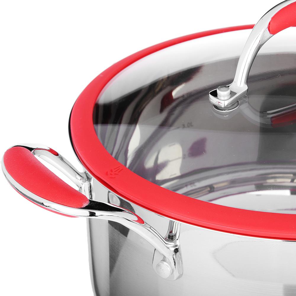 SATOSHI Венрай Кастрюля 24х13см 5,6л, со стекл. крышкой, индукция, нерж. сталь - 2