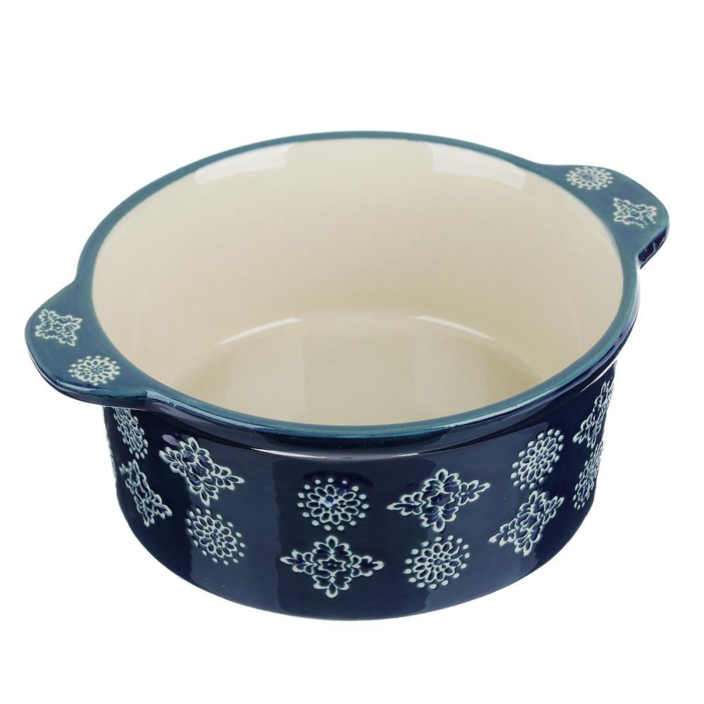 MILLIMI Горшочек с крышкой для запекания и сервировки, керамика, 16,5х13,5х10см, 480мл, синий - 2