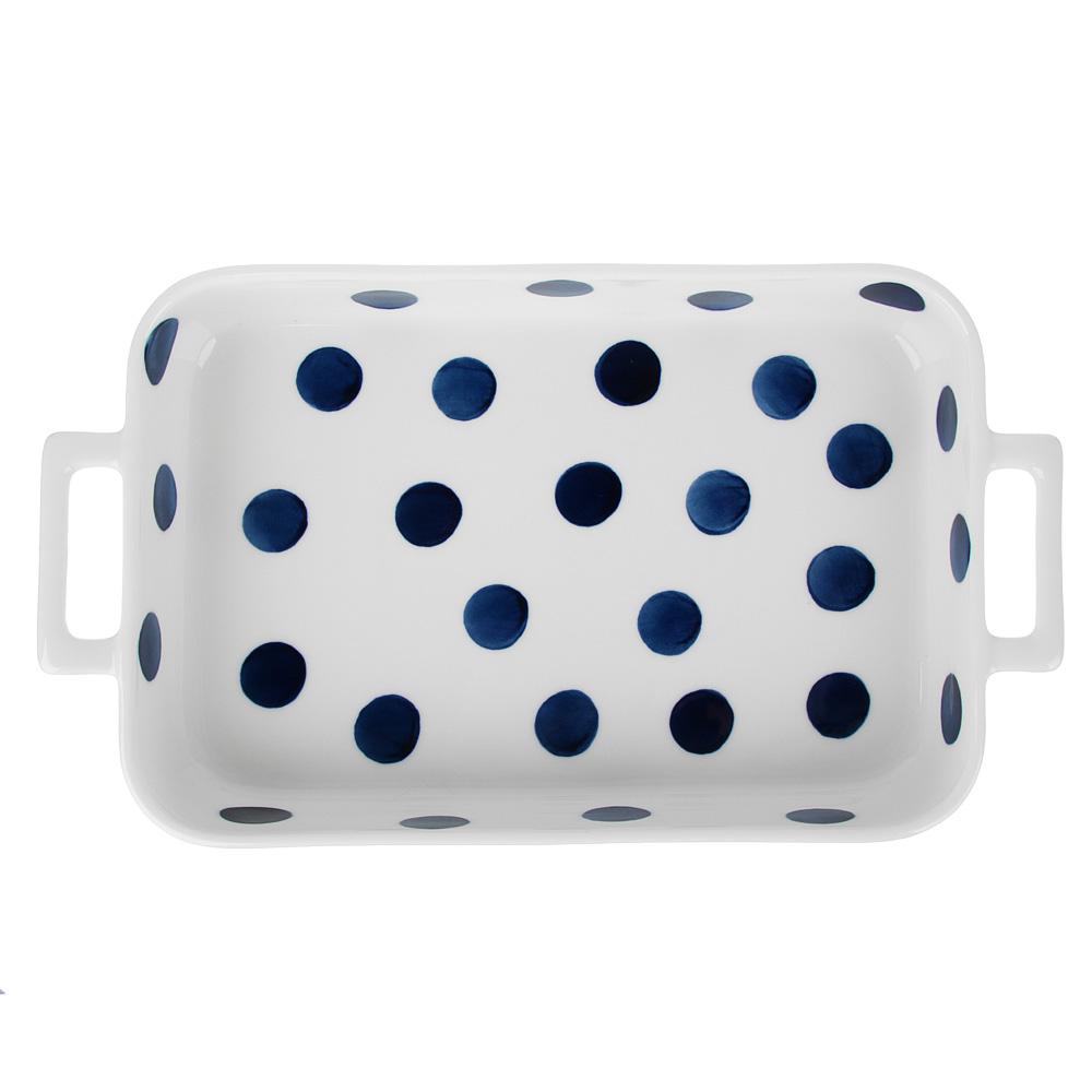 MILLIMI Синий горох Форма для запек. и сервировки прямоуг. с ручками, 1300мл, 31х17,5х5см, керамика - 2
