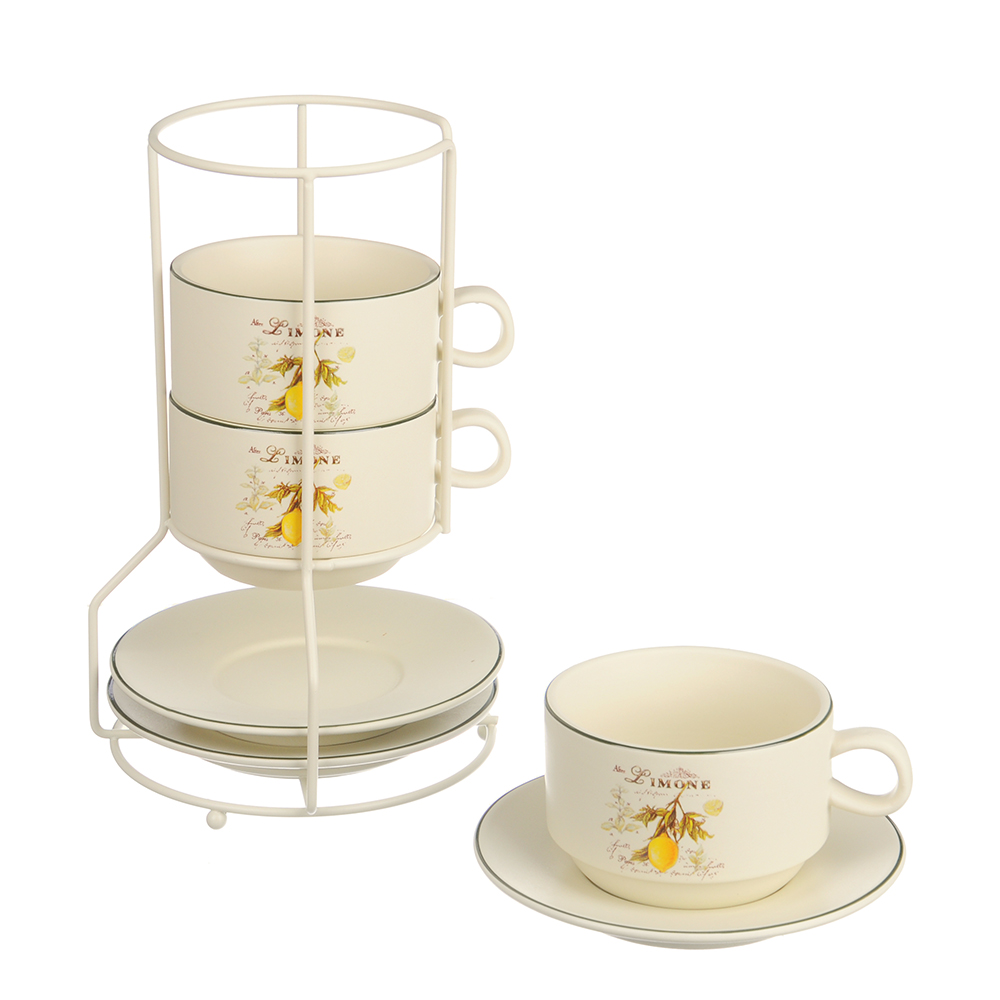 MILLIMI Вилладжио Набор чайный 6 пр. на метал. подст, 16х16х24,5см, чаш. 260мл, блюд. 16см, керамика - 2