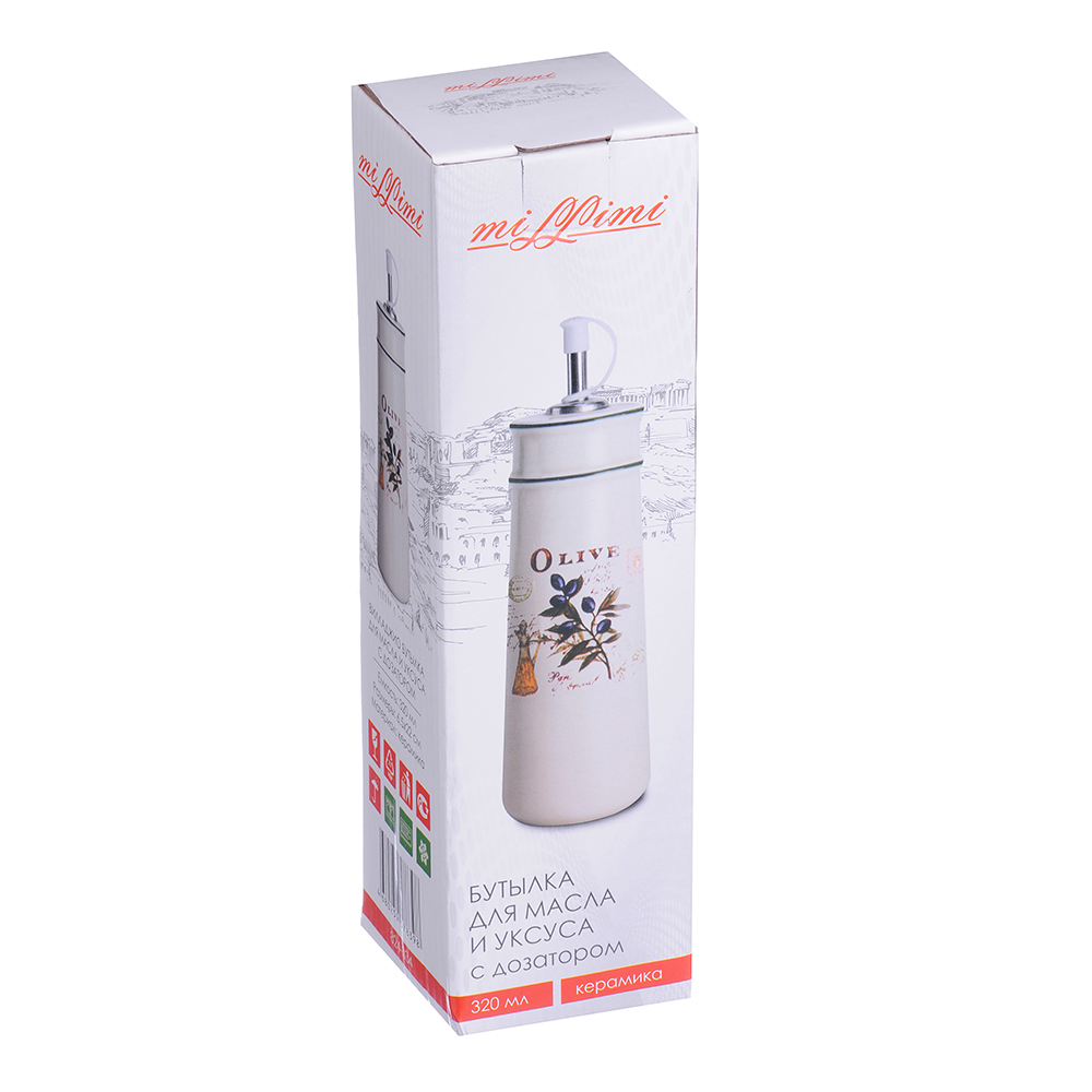 MILLIMI Вилладжио Бутылка для масла и уксуса с дозатором, 320мл, 6,5х22см, керамика - 2