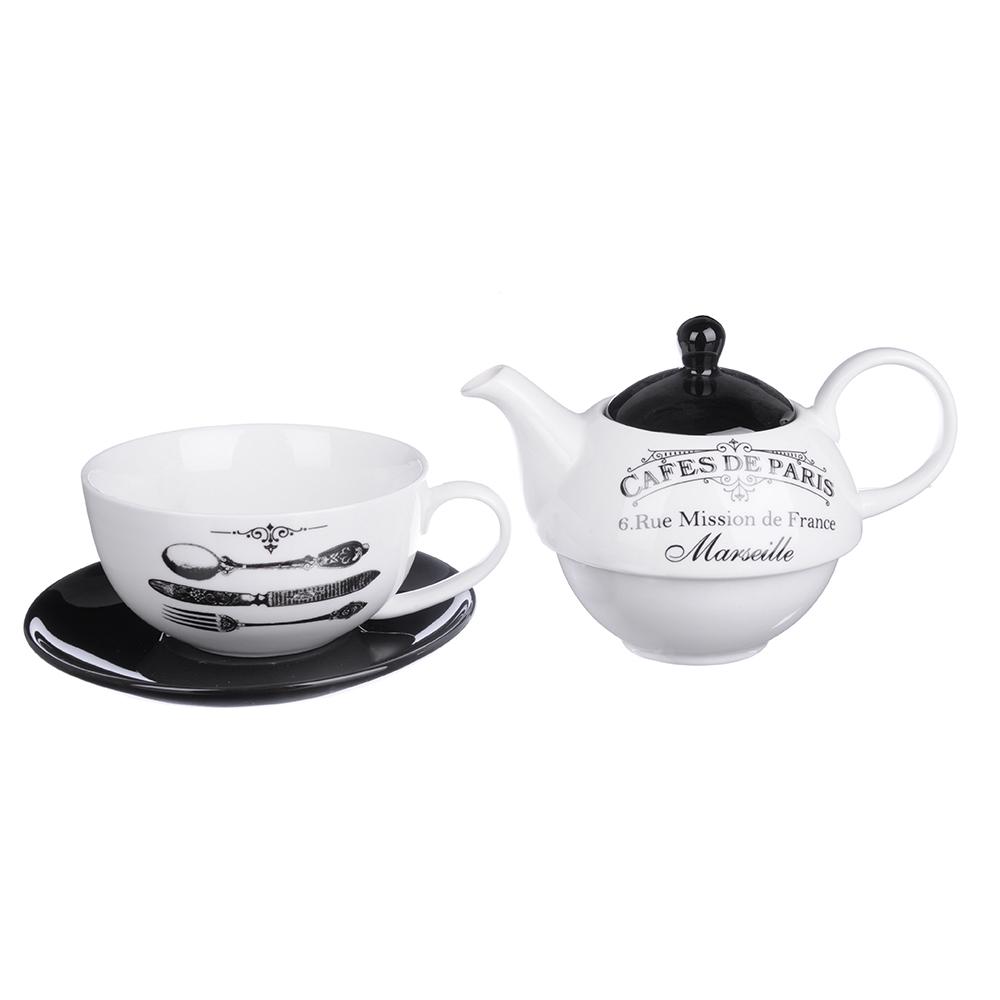 """MILLIMI Кафе де Пари Набор чайный """"Эгоист"""", чайник 380мл, чашка 320мл, блюдце 15см, керамика - 2"""