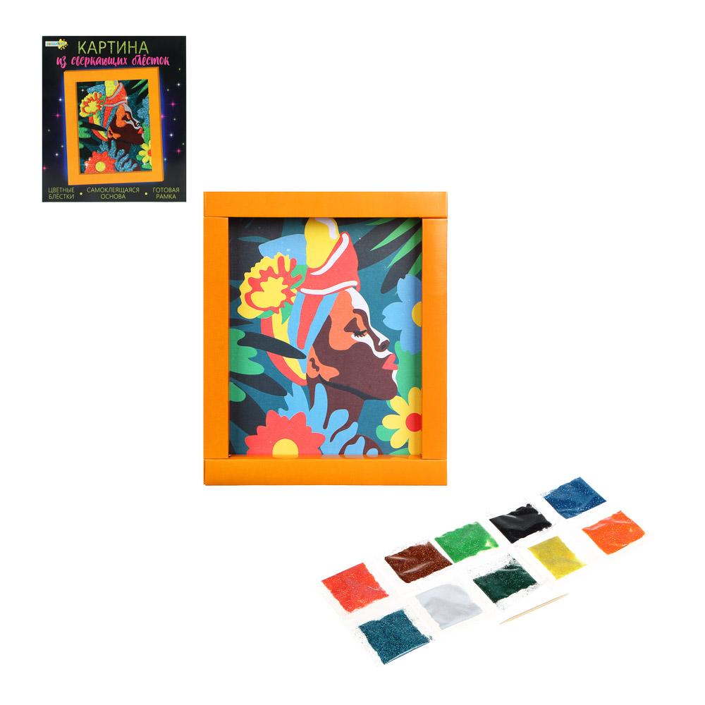 ХОББИХИТ Картина сверкающими блестками, картон, песок, 23х20х2,5см, 6 дизайнов - 3
