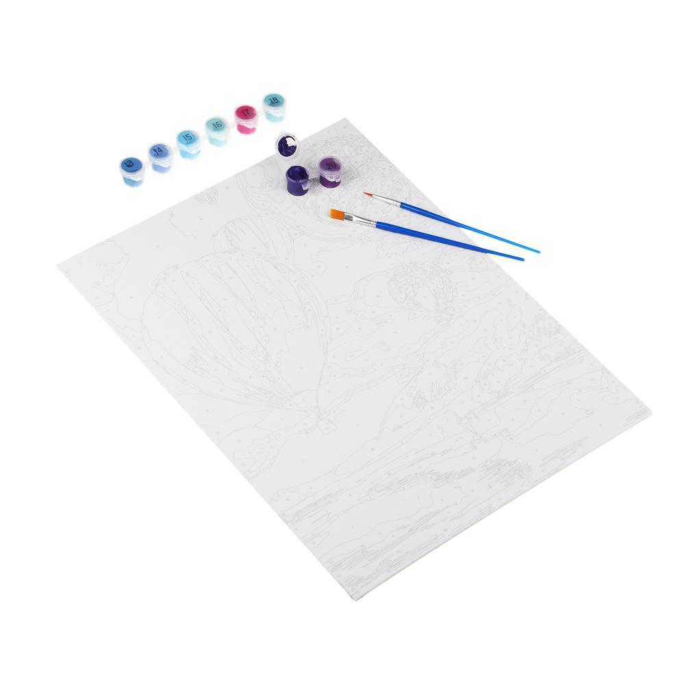 ХОББИХИТ Картина по номерам, комплект (основа, акриловые краски, кисть), 30х40см, 12 дизайнов - 4