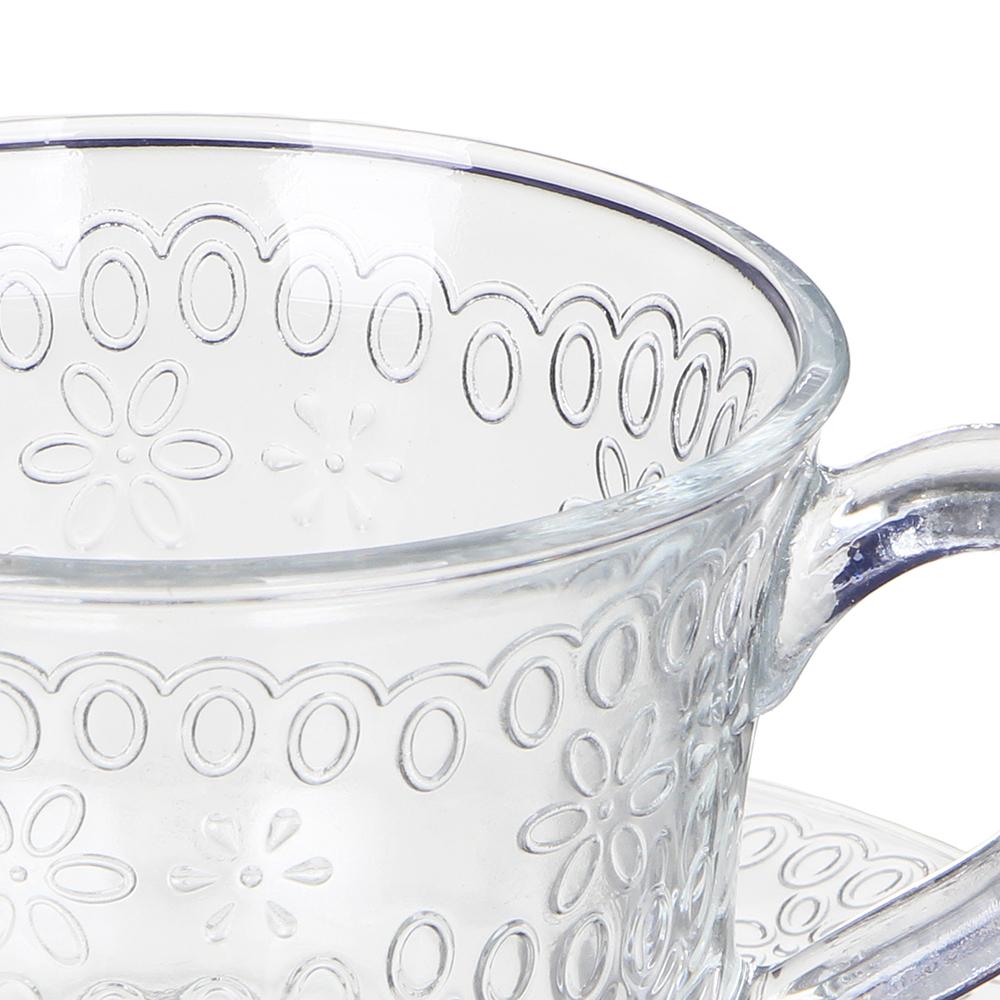 """Чайная пара (кружка 200мл с блюдцем), стекло, """"Ажур"""" - 2"""