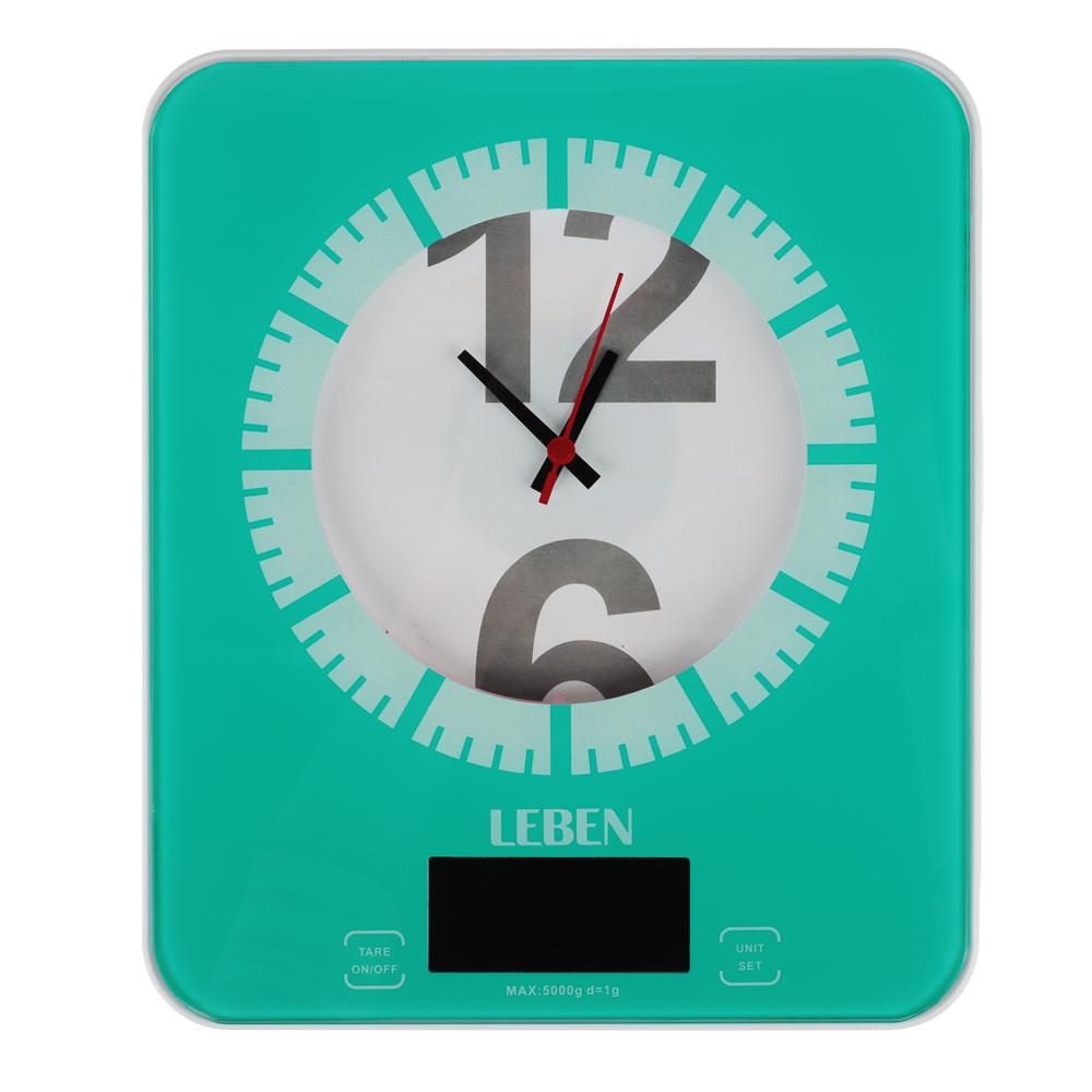 LEBEN Весы кухонные электронные с часами, макс.нагр.до 5кг (точн.измер. 1 гр), пластик, 2 цвета 268-053 - 2