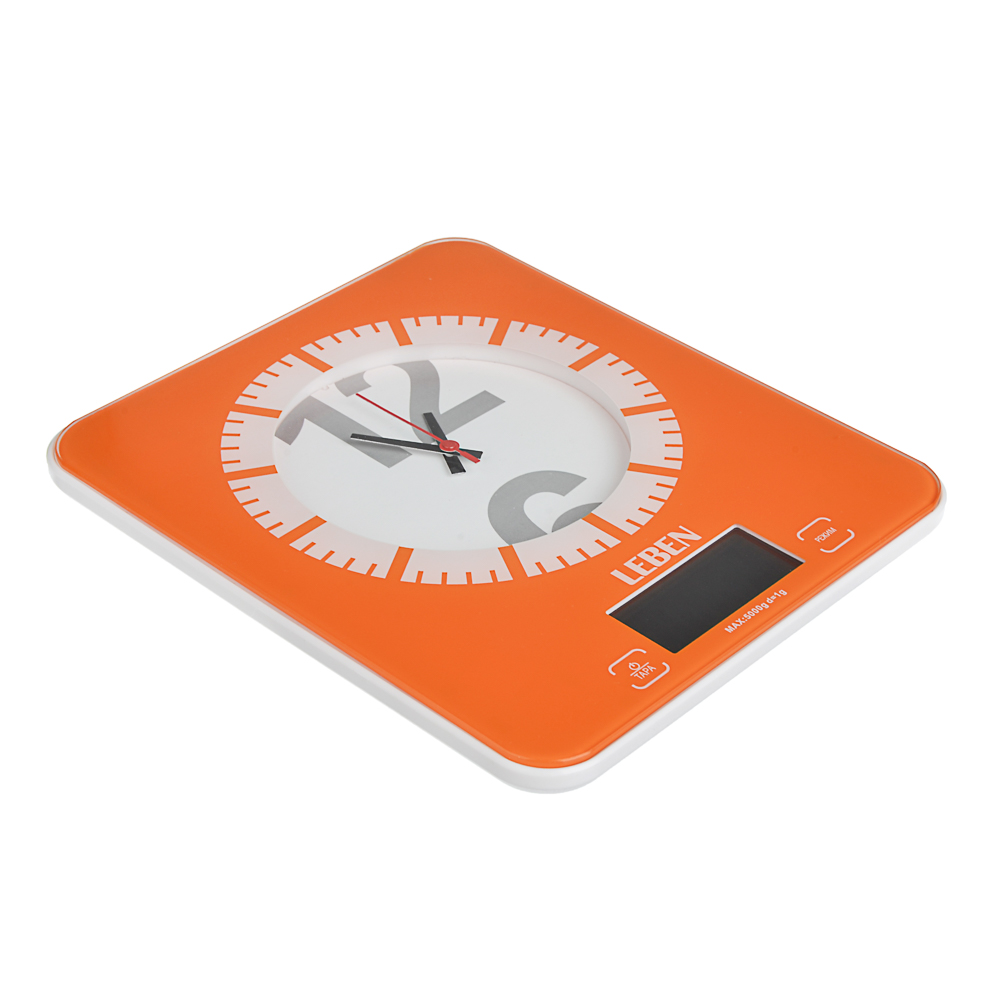 LEBEN Весы кухонные электронные с часами, макс.нагр.до 5кг (точн.измер. 1 гр), пластик, 2 цвета 268-053 - 3