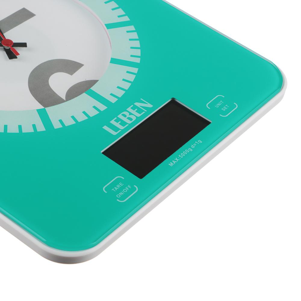 LEBEN Весы кухонные электронные с часами, макс.нагр.до 5кг (точн.измер. 1 гр), пластик, 2 цвета 268-053 - 4