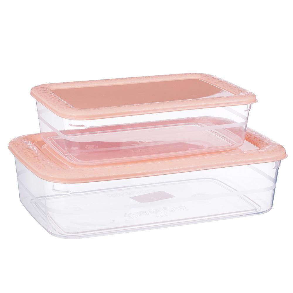 Набор контейнеров прямоугольных, 2шт, 1л+2л, пластик, 3 цвета - 2