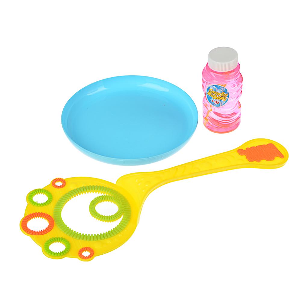 ИГРОЛЕНД Мыльные пузыри с тарелочкой, 3пр., 118мл, мыльный р-р, ABS, 21,5х36х2,5см - 2