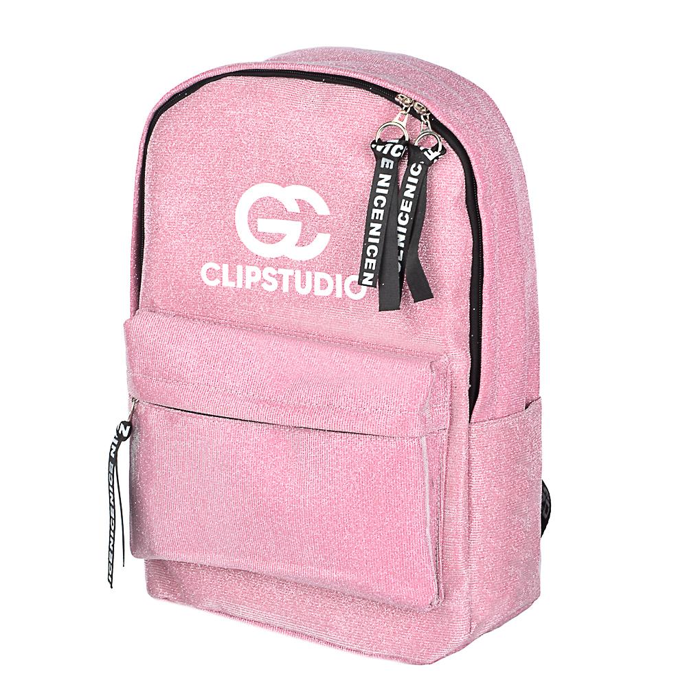 Рюкзак подростковый, 41x31x11,5см, 1 отделение, 3 кармана, радужный полиэстер с блестками, 3 цвета - 3