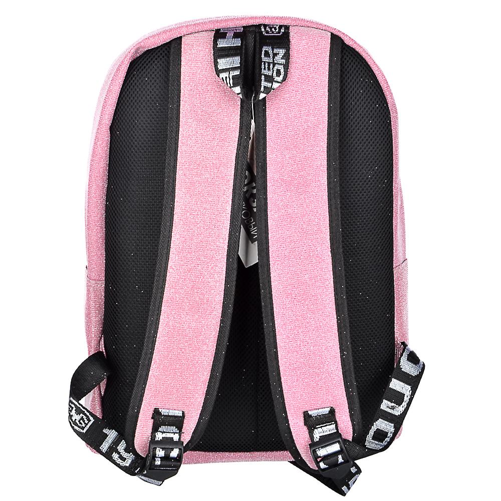 Рюкзак подростковый, 41x31x11,5см, 1 отделение, 3 кармана, радужный полиэстер с блестками, 3 цвета - 4
