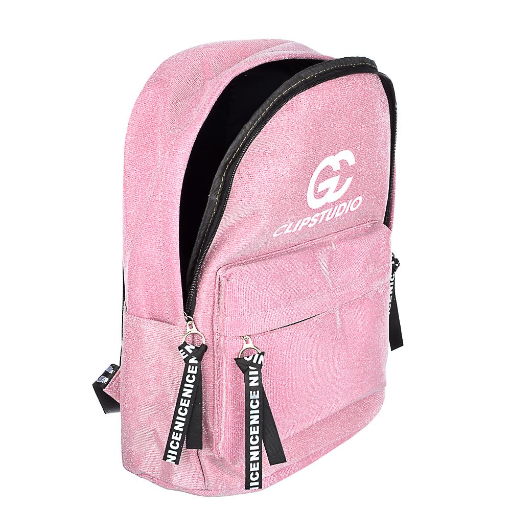 Рюкзак подростковый, 41x31x11,5см, 1 отделение, 3 кармана, радужный полиэстер с блестками, 3 цвета - 5